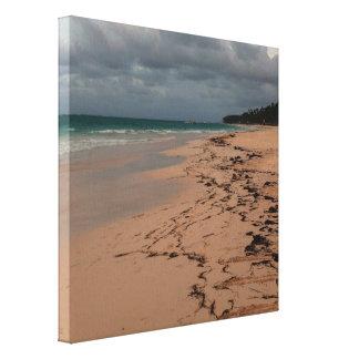 Nightfall at the beach canvas print