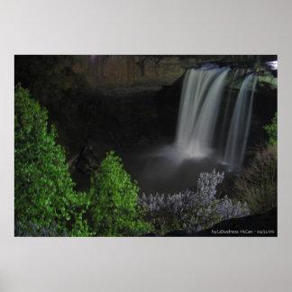 """""""Nightfall/Waterfall"""" - Noccalula Falls Poster"""