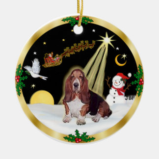 NightFlight-  Basset Hound Ceramic Ornament