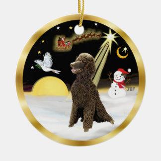 NightFlight-  Chocolate Standard Poodle Ceramic Ornament