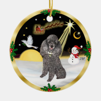 NightFlight-  Silver Miniature or Toy Poodle Ceramic Ornament