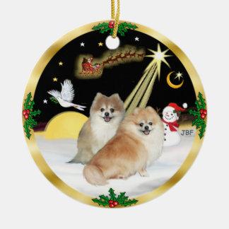 NightFlight-  Two Pomeranians Ceramic Ornament