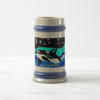 Nightime Star Orca Whale, Reach for the Stars Beer Stein
