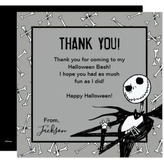 Nightmare Before Christmas Halloween Thank You Card