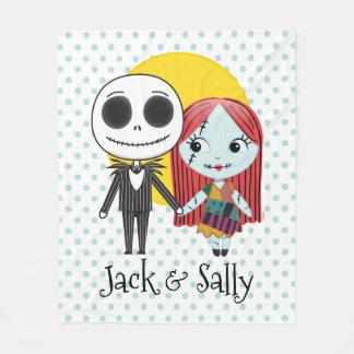 Nightmare Before Christmas | Jack & Sally Emoji Fleece Blanket