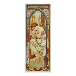 Night's Rest Vintage Nouveau by Alphonse Mucha Poster