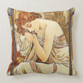 Night's Rest Vintage Nouveau by Alphonse Mucha Throw Pillow