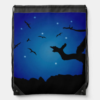Nightscape Landscape Illustration Drawstring Bag