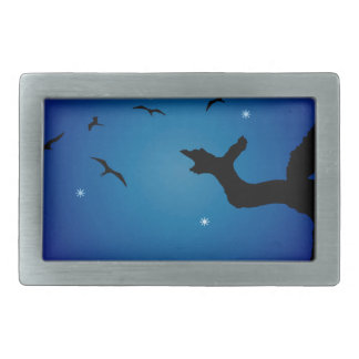 Nightscape Landscape Illustration Rectangular Belt Buckles