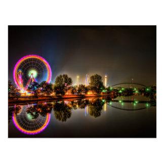 Nighttime Amusement Park Postcard