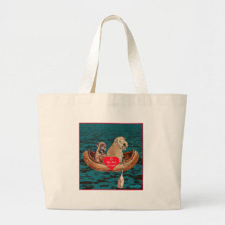 """Nighttime Canoe Ride with Best Friend"" Large Tote Bag"