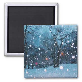 Nighttime City Snow Square Magnet