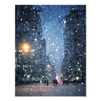 Nighttime City Snowfall Photographic Print