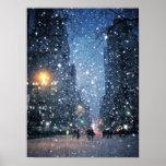 Nighttime City Snowfall Poster