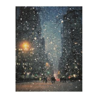 Nighttime City Snowfall Wood Prints