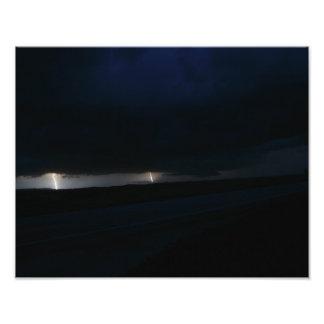 Nighttime Double Lightning Photo Print