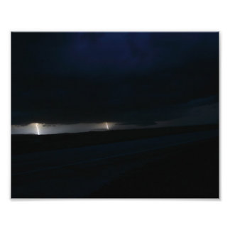 Nighttime Double Lightning Photographic Print