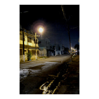 Nighttime Downtown Kingston Jamaica Poster