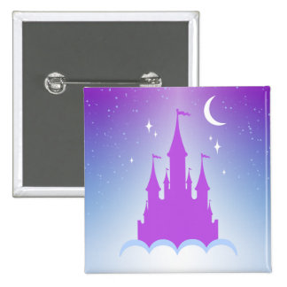 Nighttime Dreamy Castle In The Clouds Starry Sky 2 Inch Square Button