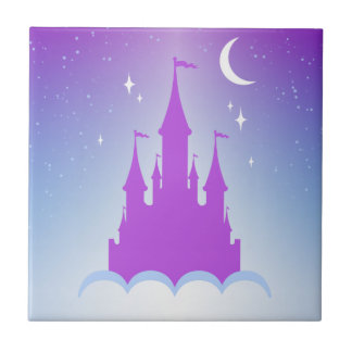 Nighttime Dreamy Castle In The Clouds Starry Sky Ceramic Tile