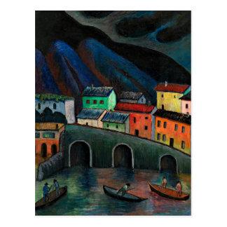 Nighttime Fishing in Ascona Postcard