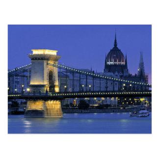 Nighttime in Budapest, Hungary Postcard