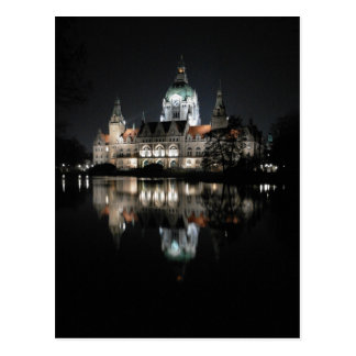 Nighttime Reflections in Hanover, Germany Postcard