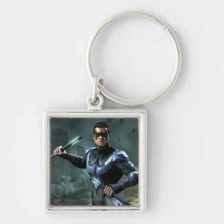 Nightwing Silver-Colored Square Keychain