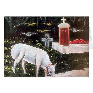 Niko Pirosmani -Lamb & Easter Table, Flying Angels Card