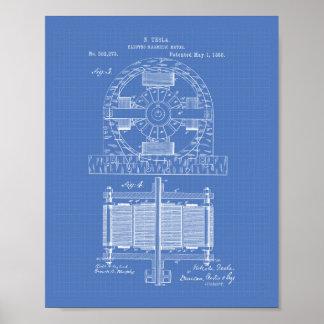 Nikola Tesla 1888 Patent Art - Blueprint Poster