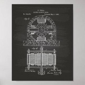 Nikola Tesla 1888 Patent Art - Chalkboard Poster