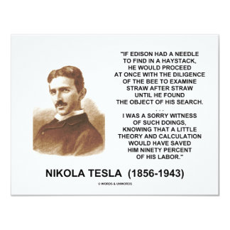 Nikola Tesla Edison Needle Haystack Theory Quote Card