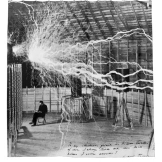 Nikola Tesla in His Lab Shower Curtain