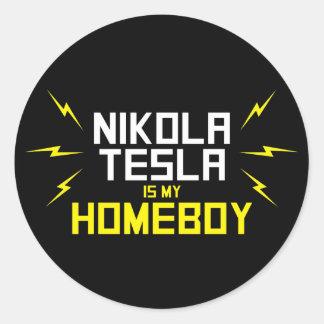 Nikola Tesla is My Homeboy Classic Round Sticker