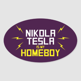 Nikola Tesla is My Homeboy Oval Sticker
