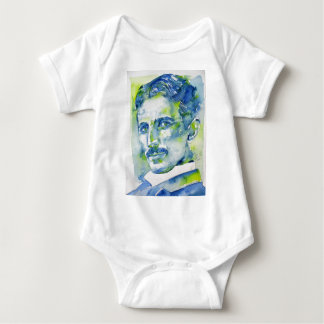 nikola tesla - watercolor portrait.1 baby bodysuit