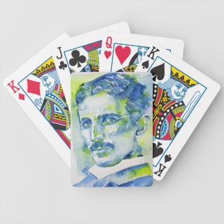 nikola tesla - watercolor portrait.1 bicycle playing cards