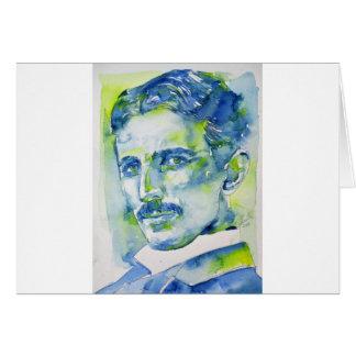 nikola tesla - watercolor portrait.1 card