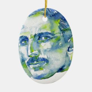 nikola tesla - watercolor portrait.1 ceramic ornament