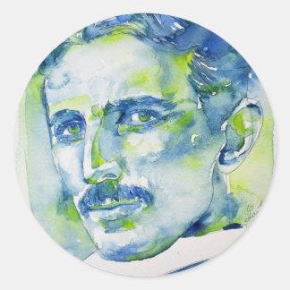 nikola tesla - watercolor portrait.1 classic round sticker