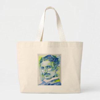 nikola tesla - watercolor portrait.1 large tote bag