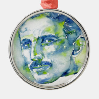 nikola tesla - watercolor portrait.1 metal ornament