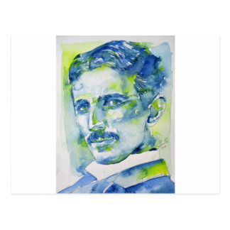 nikola tesla - watercolor portrait.1 postcard