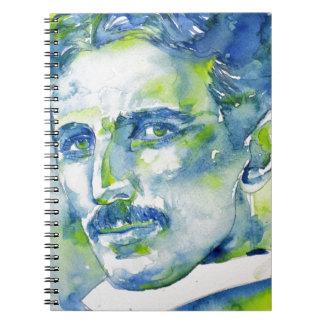 nikola tesla - watercolor portrait.1 spiral notebook