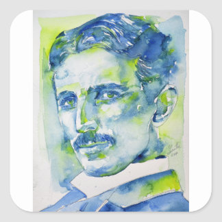 nikola tesla - watercolor portrait.1 square sticker