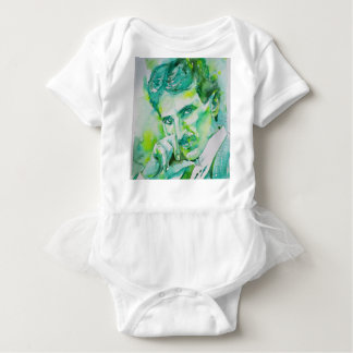 nikola tesla - watercolor portrait.2 baby bodysuit