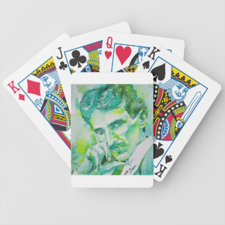 nikola tesla - watercolor portrait.2 bicycle playing cards