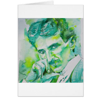 nikola tesla - watercolor portrait.2 card