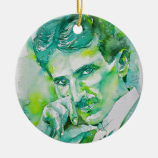 nikola tesla - watercolor portrait.2 ceramic ornament