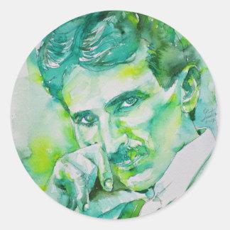 nikola tesla - watercolor portrait.2 classic round sticker